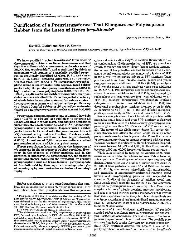 PDF) Purification of a prenyltransferase that elongates cis