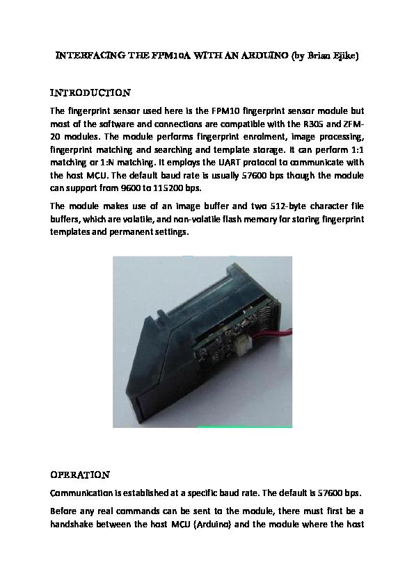 PDF) FPM10/R305 Fingerprint Sensor Interfacing with Arduino