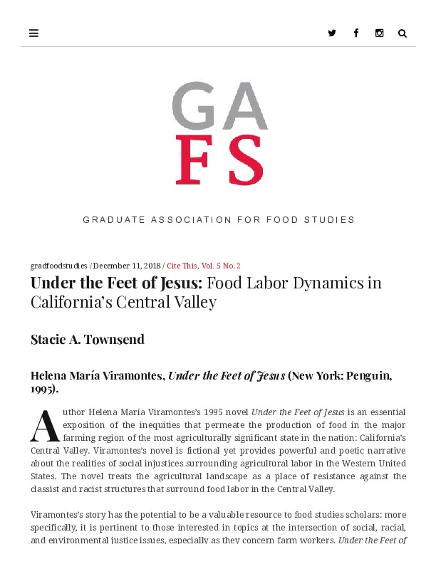 PDF) Under the Feet of Jesus: Food Labor Dynamics in