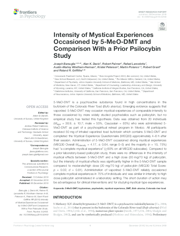 PDF) Intensity of Mystical Experiences Occasioned by 5-MeO