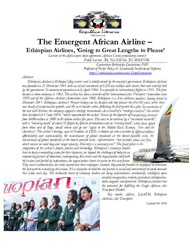 PDF) The Emergent African Airline - Ethiopian Airlines