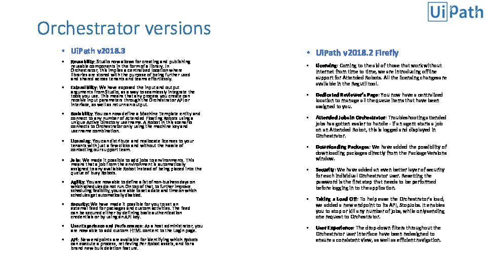 PDF) Orchestrator versions • UiPath v2018 3 | vignesh waran