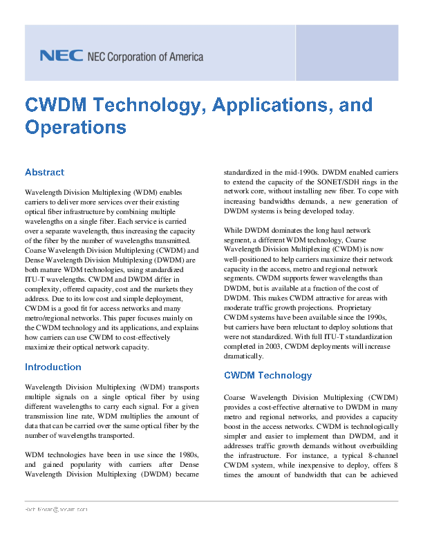 PDF) CWDM Technology Applications and Operations 05 29 08