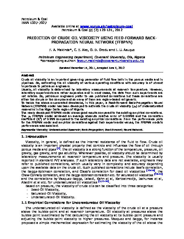 PDF) PREDICTION OF CRUDE OIL VISCOSITY USING FEED-FORWARD