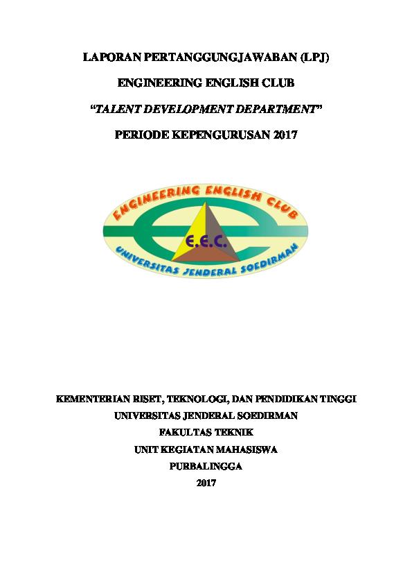 Doc Laporan Pertanggungjawaban Lpj Engineering English Club Talent Development Department Pratista Esa Academia Edu