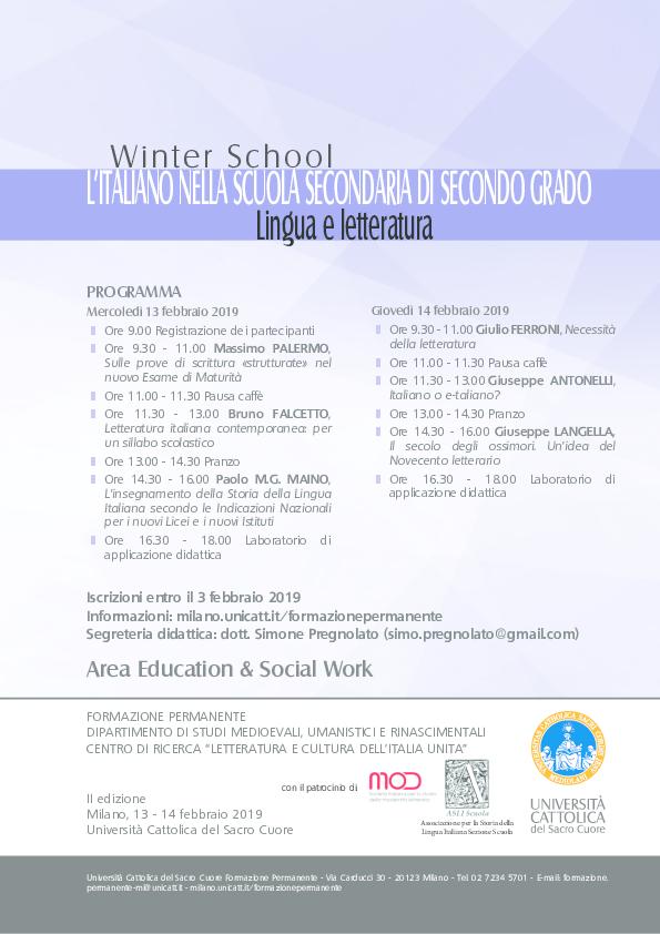 Unicatt Calendario Esami.Pdf Winter School 2019 L Italiano Nella Scuola Secondaria