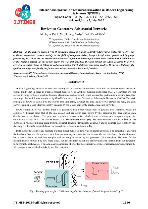 PDF) Review on Generative Adversarial Networks | priyanka shende