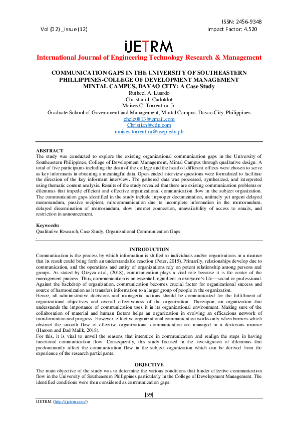 PDF) COMMUNICATION GAPS IN THE UNIVERSITY OF SOUTHEASTERN