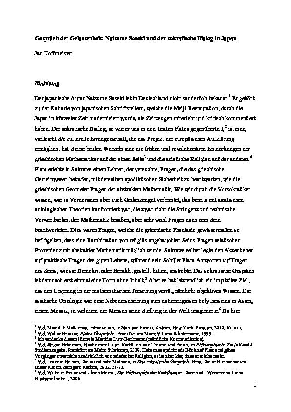 Pdf Gesprach Der Gelassenheit Natsume Soseki Und Der Sokratische Dialog In Japan Jan Hoffmeister Academia Edu