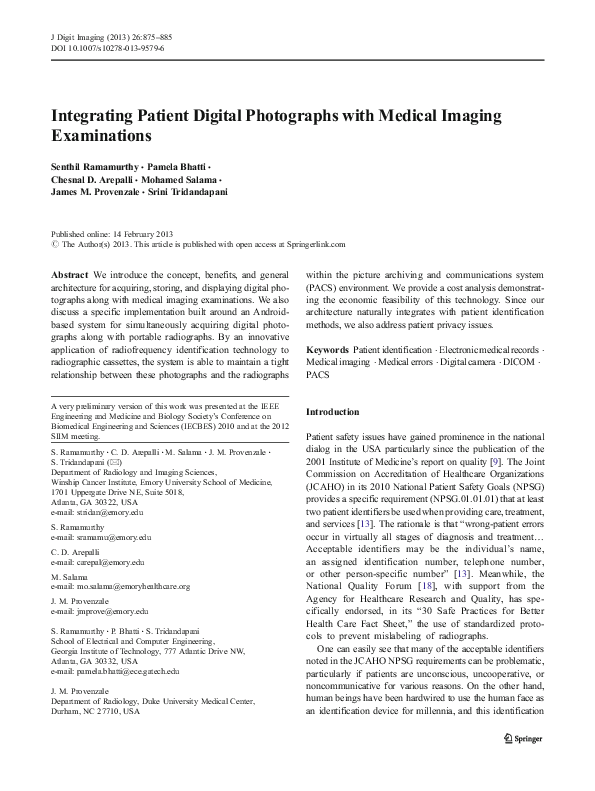 PDF) Integrating Patient Digital Photographs with Medical