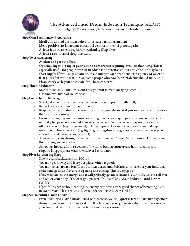 PDF) The Advanced Lucid Dream Induction Technique (ALDIT