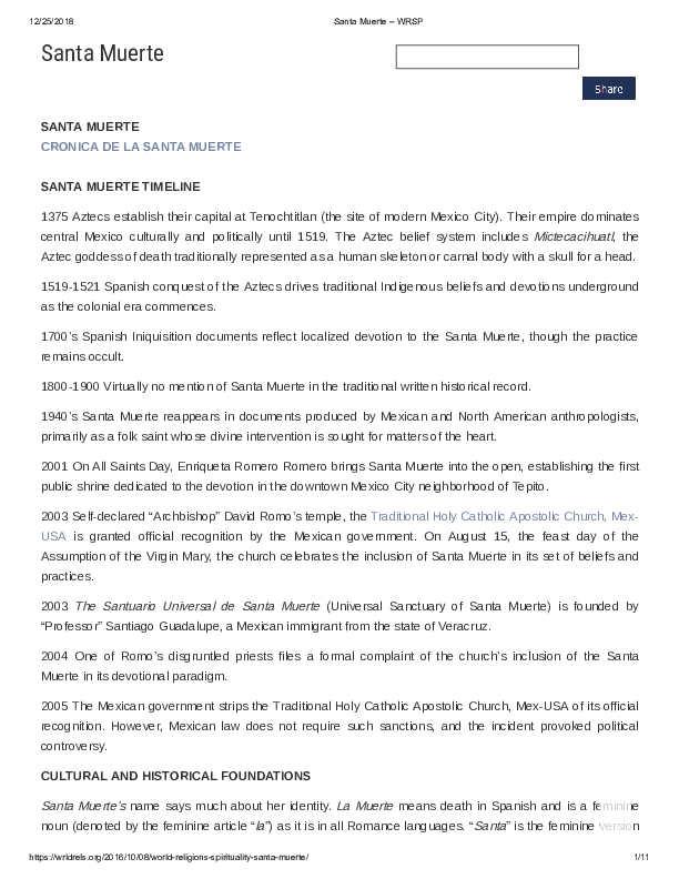 PDF) Santa Muerte Profile   Andrew Chesnut - Academia edu