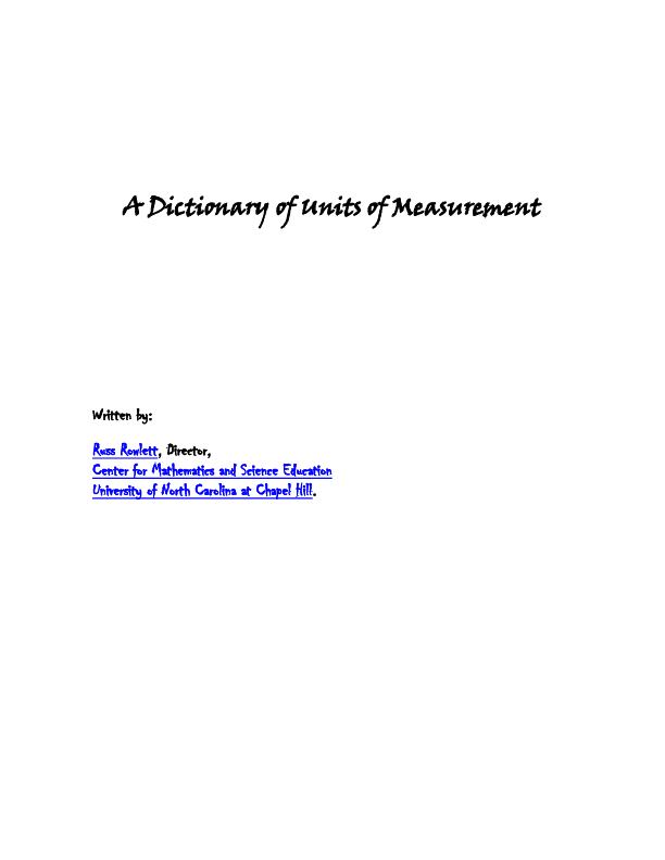DOC) A Dictionary of Units of Measurement | Walter Romero