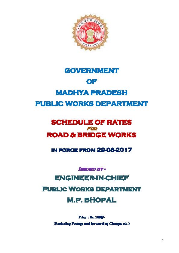 PDF) GOVERNMENT OF MADHYA PRADESH PUBLIC WORKS DEPARTMENT