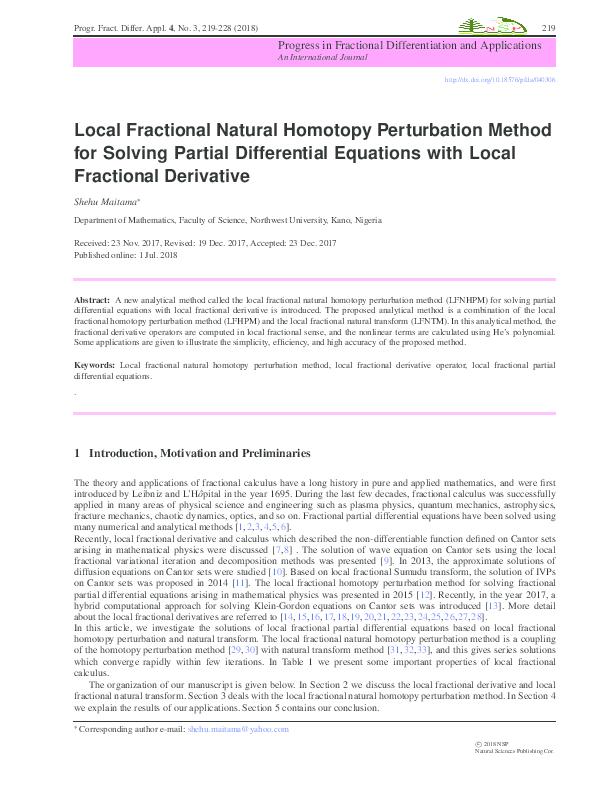 PDF) Local Fractional Natural Homotopy Perturbation Method
