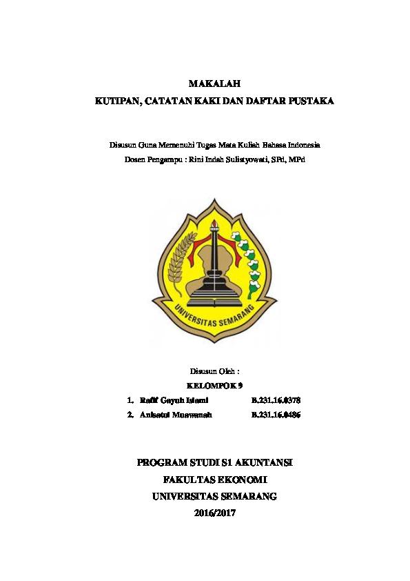 Doc Makalah Kutipan Catatan Kaki Dan Daftar Pustaka Docx Annisa De Academia Edu