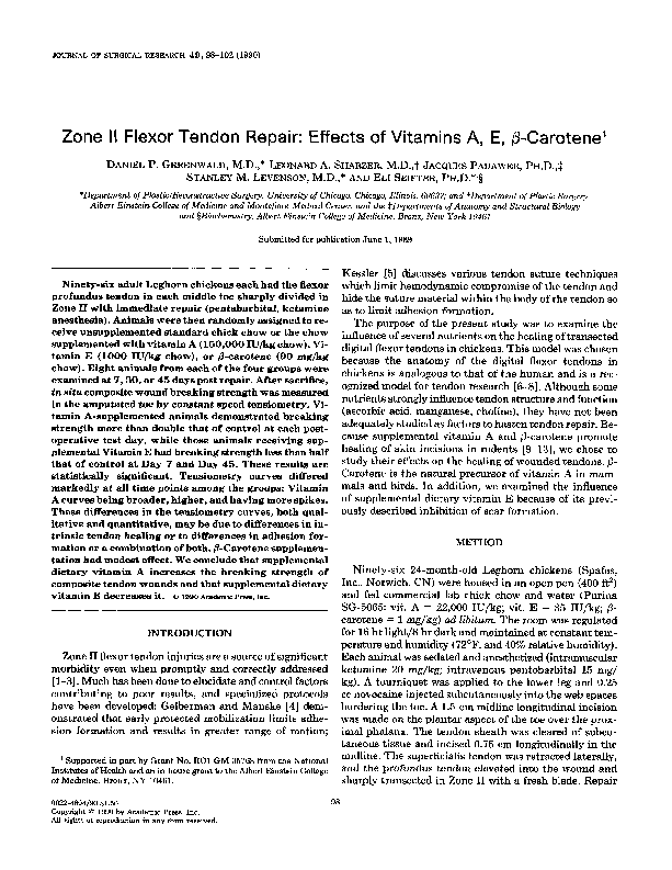 PDF) Zone II flexor tendon repair: Effects of vitamins A, E