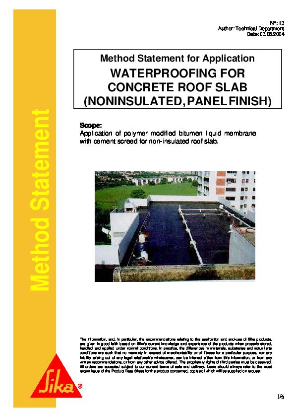 Pdf Method Statement Method Statement For Application Waterproofing For Concrete Roof Slab Noninsulated Panel Finish Sullam Syamsun Syafar Academia Edu