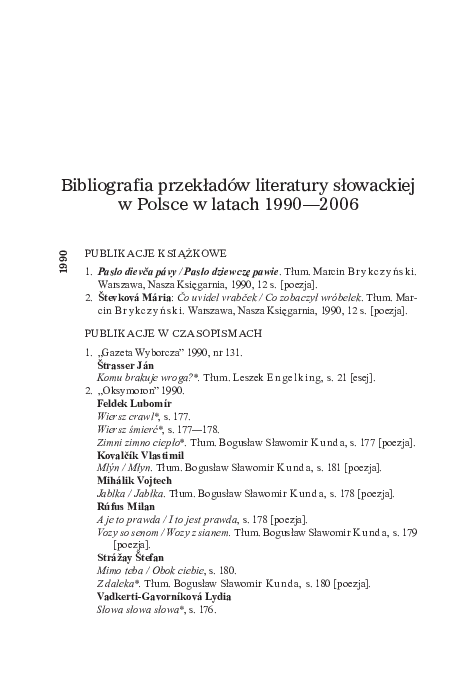 Pdf Tsl Issue 142013 Bibliografia Przekładów Literatury