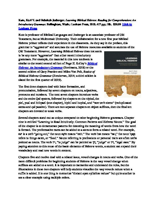 PDF) Karl V  Kutz and Rebekah Josberger  Learning Biblical Hebrew