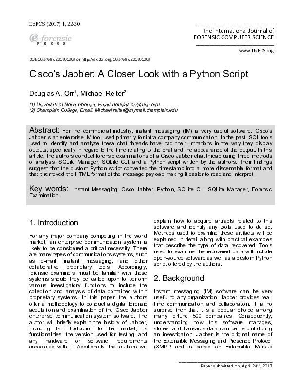PDF) Cisco's Jabber: A Closer Look with a Python Script | Douglas A