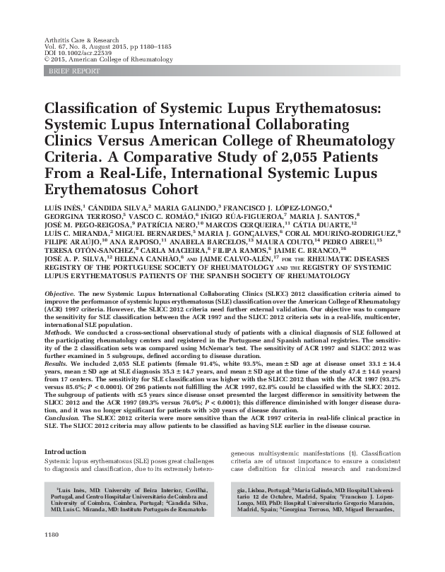 PDF) Classification of Systemic Lupus Erythematosus