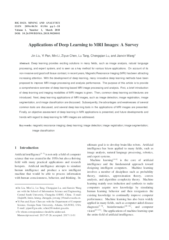 PDF) Applications of Deep Learning to MRI ImagesW A Survey