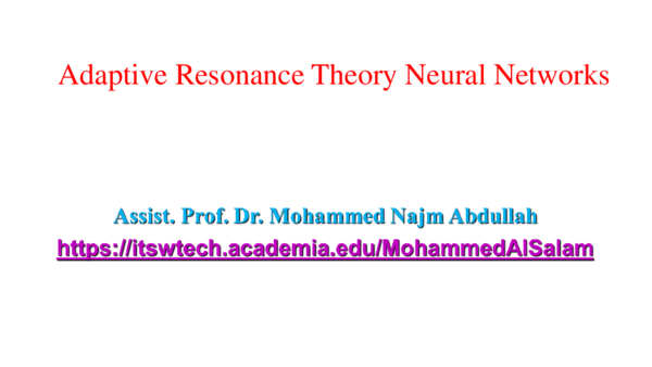 PPT) Adaptive Resonance Theory Neural Networks   Mohammed Najm