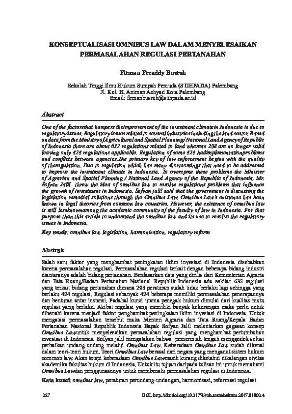 Pdf Konseptualisasi Omnibus Law Dalam Menyelesaikan Permasalahan Regulasi Pertanahan Firman Freaddy Busroh Academia Edu