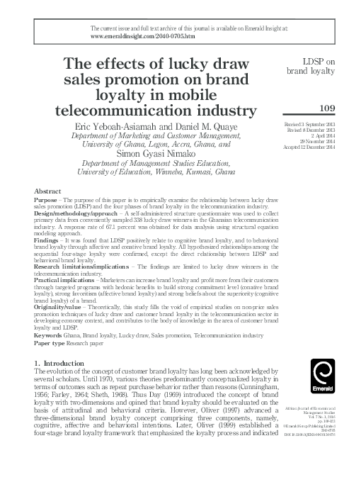 PDF) The effects of lucky draw sales promotion on brand loyalty in