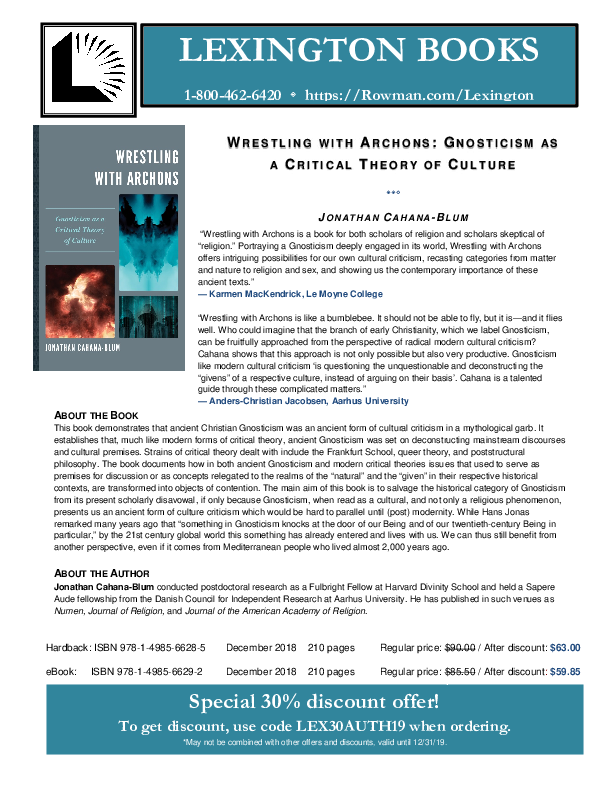 PDF) Wrestling with Archons: Gnosticism as a Critical Theory