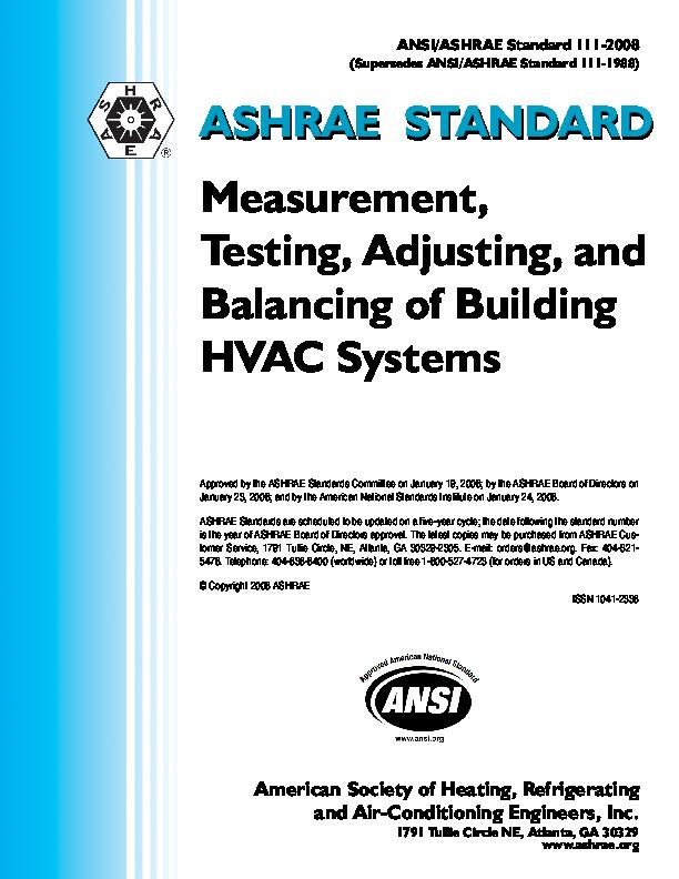 PDF) ASHRAE STANDARD ASHRAE STANDARD Measurement, Testing