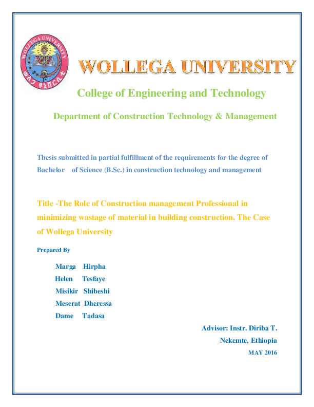 Thesis On Project Management In Ethiopia Pdf