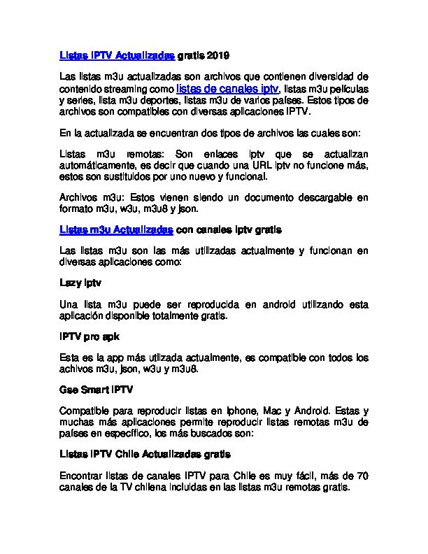 Doc Listas Iptv M3u Actualizadas Gratis 2019 Listas Iptv M3u 2020 Academia Edu