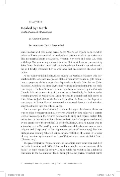 PDF) Healed by Death: Santa Muerte, the Curandera   Andrew Chesnut