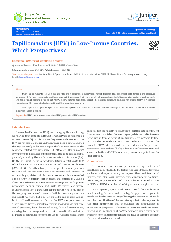PDF) Papillomavirus (HPV) in Low-Income Countries: Which