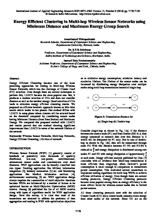 PDF) Energy Efficient Clustering in Multi-hop Wireless Sensor