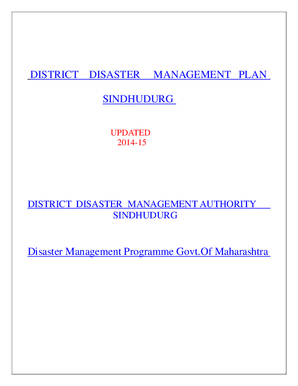 PDF) DISTRICT DISASTER MANAGEMENT AUTHORITY SINDHUDURG