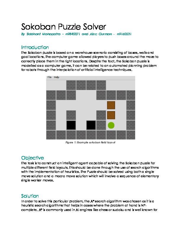 PDF) Sokoban Puzzle Solver | Sid Mahapatra - Academia edu