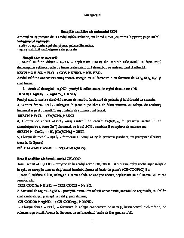 DOC) Lucrarea 8 Reacţiile analitice ale anionului SCN