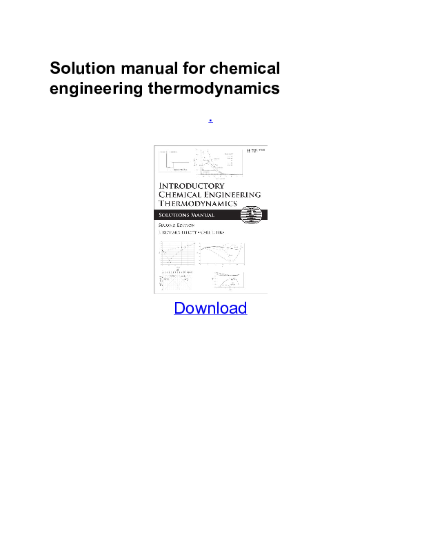 PDF) Solution manual for chemical engineering thermodynamics