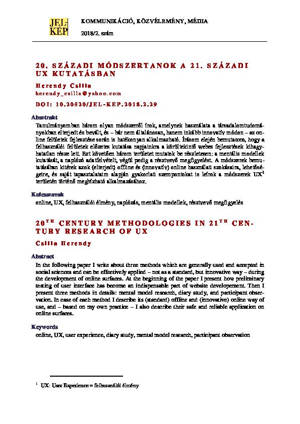 7d4b0f6657b2 (PDF) 20. századi módszertanok a 21. századi UX kutatásban | Csilla Herendy  - Academia.edu