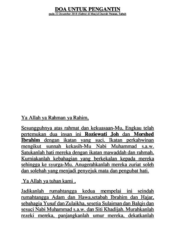 DOC DOA UNTUK PENGANTIN Jadmin Mohamed Soon Academia edu