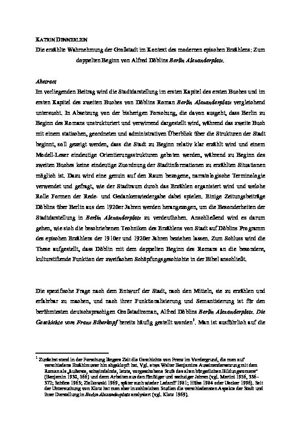 Pdf Die Erzahlte Wahrnehmung Der Grossstadt Im Kontext Des Modernen Epischen Erzahlens Zum Doppelten Beginn Von Alfred Doblins Berlin Alexanderplatz In Felix Mundt Therese Fuhrer Jan Stenger Hg Cityscaping Constructing And Modelling Images Of