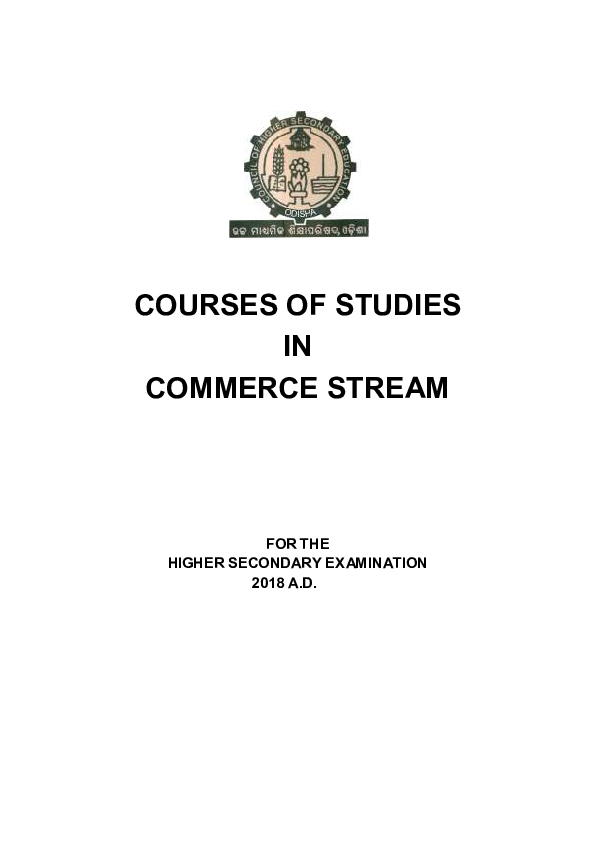 PDF) COURSES OF STUDIES IN COMMERCE STREAM FOR THE HIGHER
