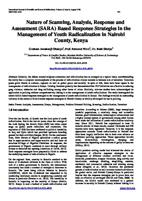 PDF) Nature of Scanning, Analysis, Response and Assessment (SARA