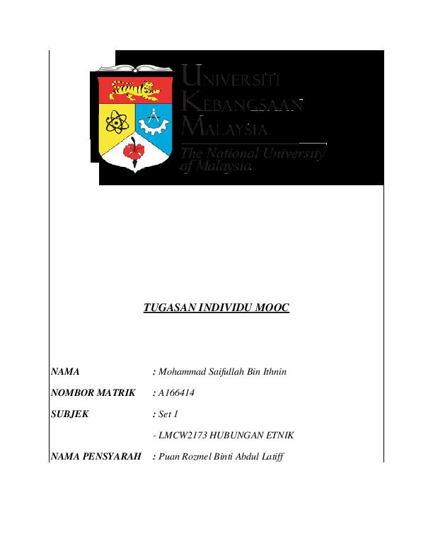 Doc Mooc Assigment Ukm Lmcw2173 Hubungan Etnik Saiful Is Me Academia Edu