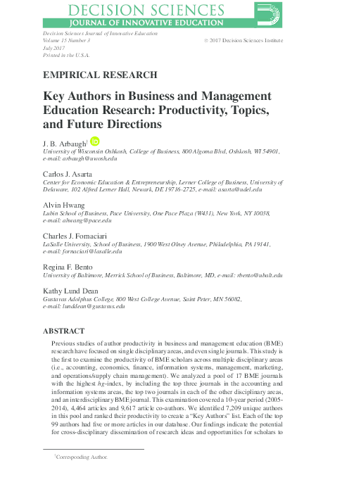 PDF) EMPIRICAL RESEARCH Key Authors in Business and