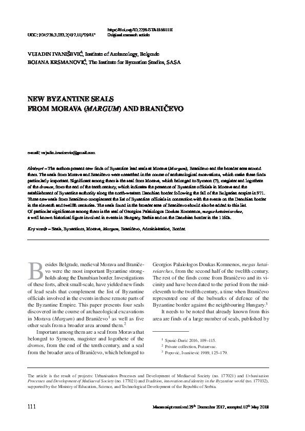 PDF) New Byzantine Seals from Morava (Margum) and Braničevo