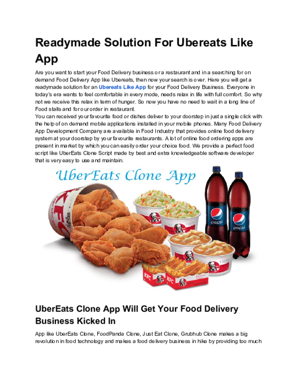PDF) Readymade Solution For Ubereats Like App | david karle